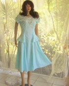Linen light Tiffany's  turquoise blue spring and summer vintage dress Battenberg cut work