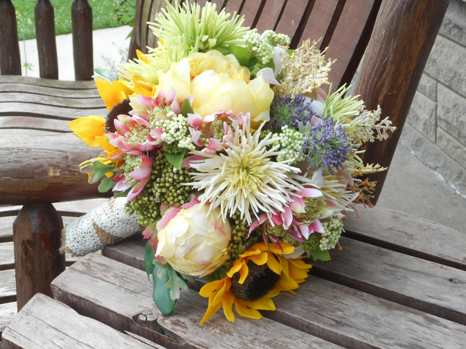 Sunflower Peonies And Wild Flowers Rustic Wedding Bouquet