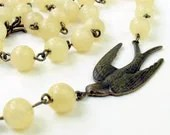 30% off SALE Yellow necklace with bird - TheBrassHussy