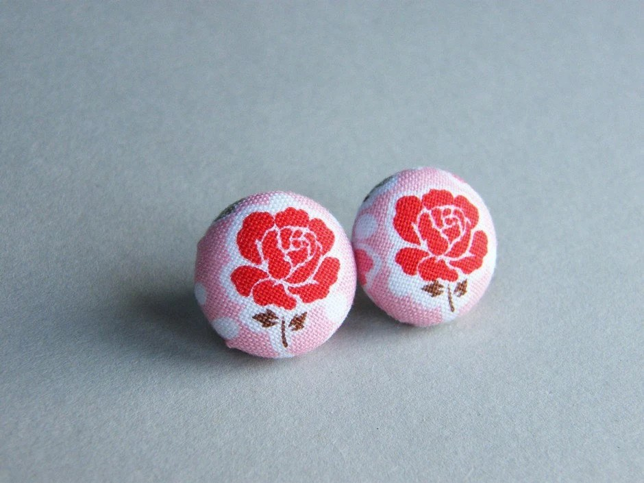 CLOSING SALE - Rose Flower Button Earrings Red Pink Covered Button Earrings Fabric Button Stud Earrings - JoannaBizu