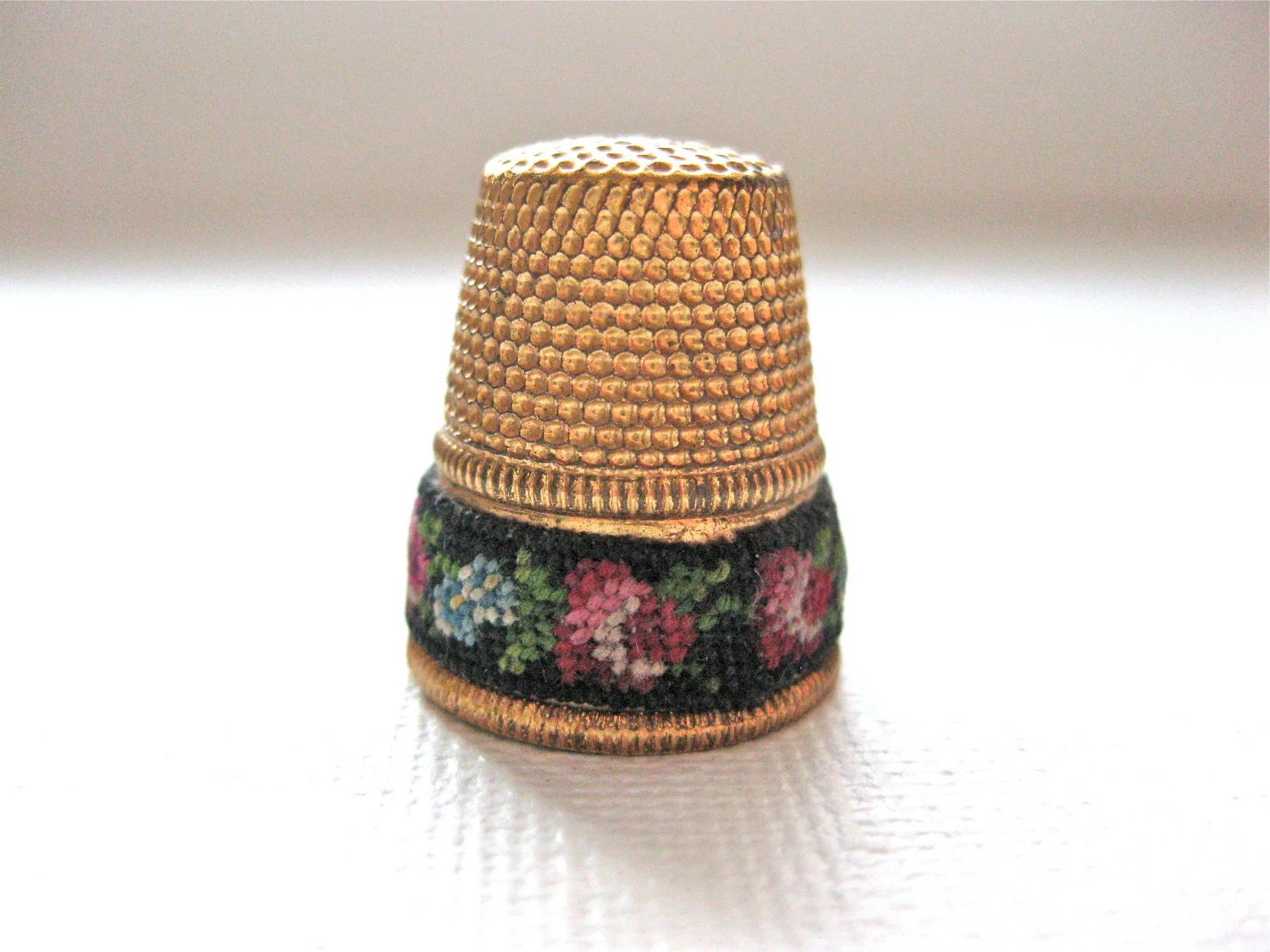 Vintage Thimble Micro Petit Point and Gold Tone Sewing Collectible Red and Blue Flowers - ArabellaReason