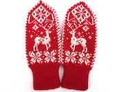 Wool mittens,wool gloves,scandinavian mittens,scandinavian gloves,red mittens,red gloves,red white mittens,red white gloves,Christmas gift - WoolenDream