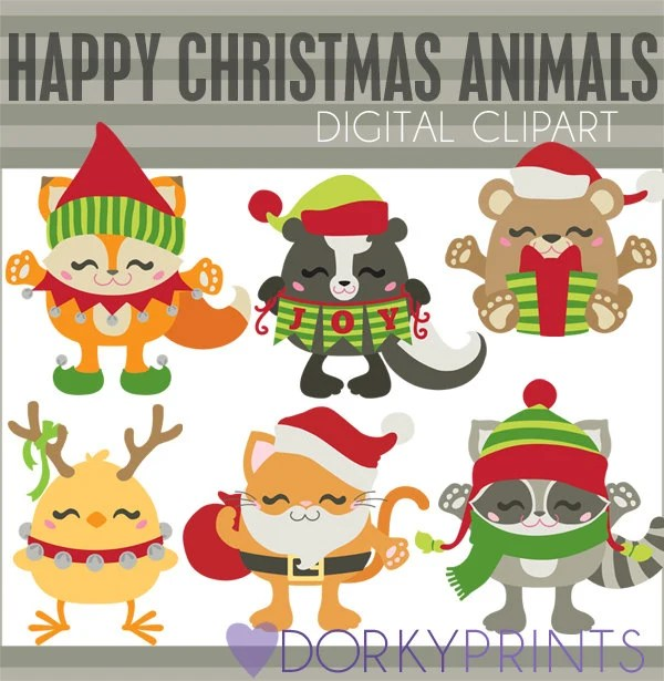christmas clip art christmas animals personal and limited commercial