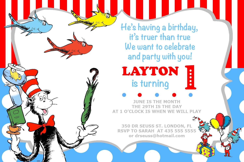 Dr Seuss Invitation Birthday Party Invites Printable Photo