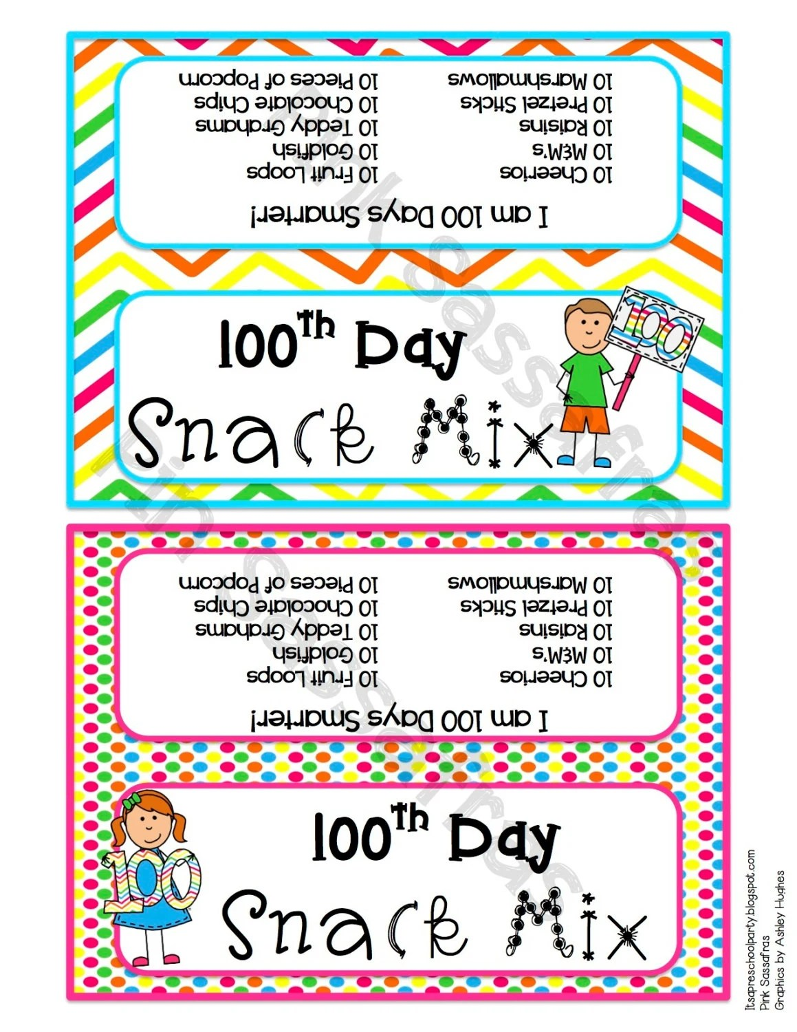 100th Day Of School Treat Bag Topper By Pinksassafras On Etsy