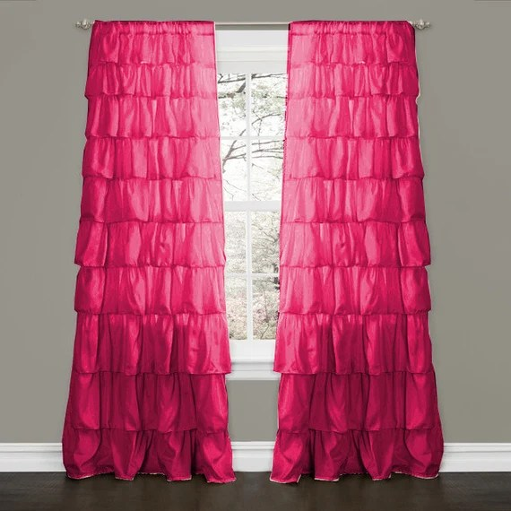 "Pink Fuschia Blackout Waterfall Ruffle Curtains - 100% MICROFIBER 2 Panel 52"" W by 95""L"