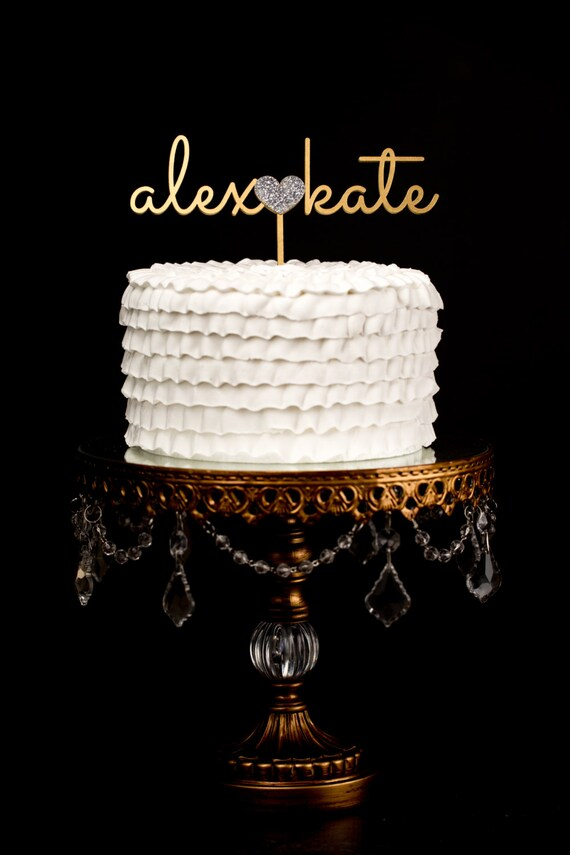 Custom Wedding Cake Topper - Gold and Silver Glitter