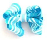 London Blue and White Striped Girls Boutique Hair Bow Clip Spring Summer