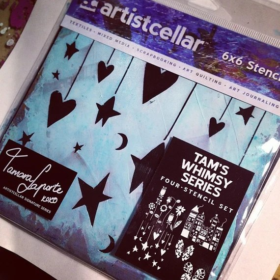 Tam's Whimsy Series of Mixed Media Art Journal Stencils