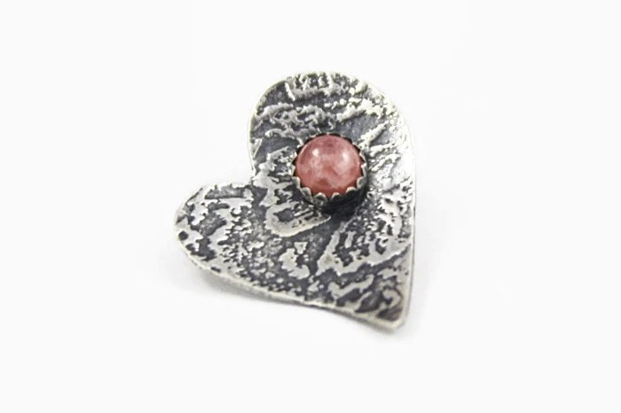 Heart Pendant, Pink Rhodochrosite and Textured Sterling Silver - quidditydesigns