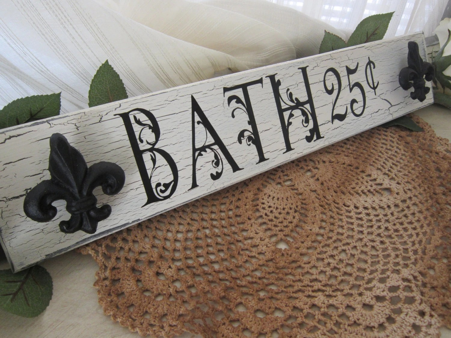 Bath sign towel holder hand painted shabby chic parisian