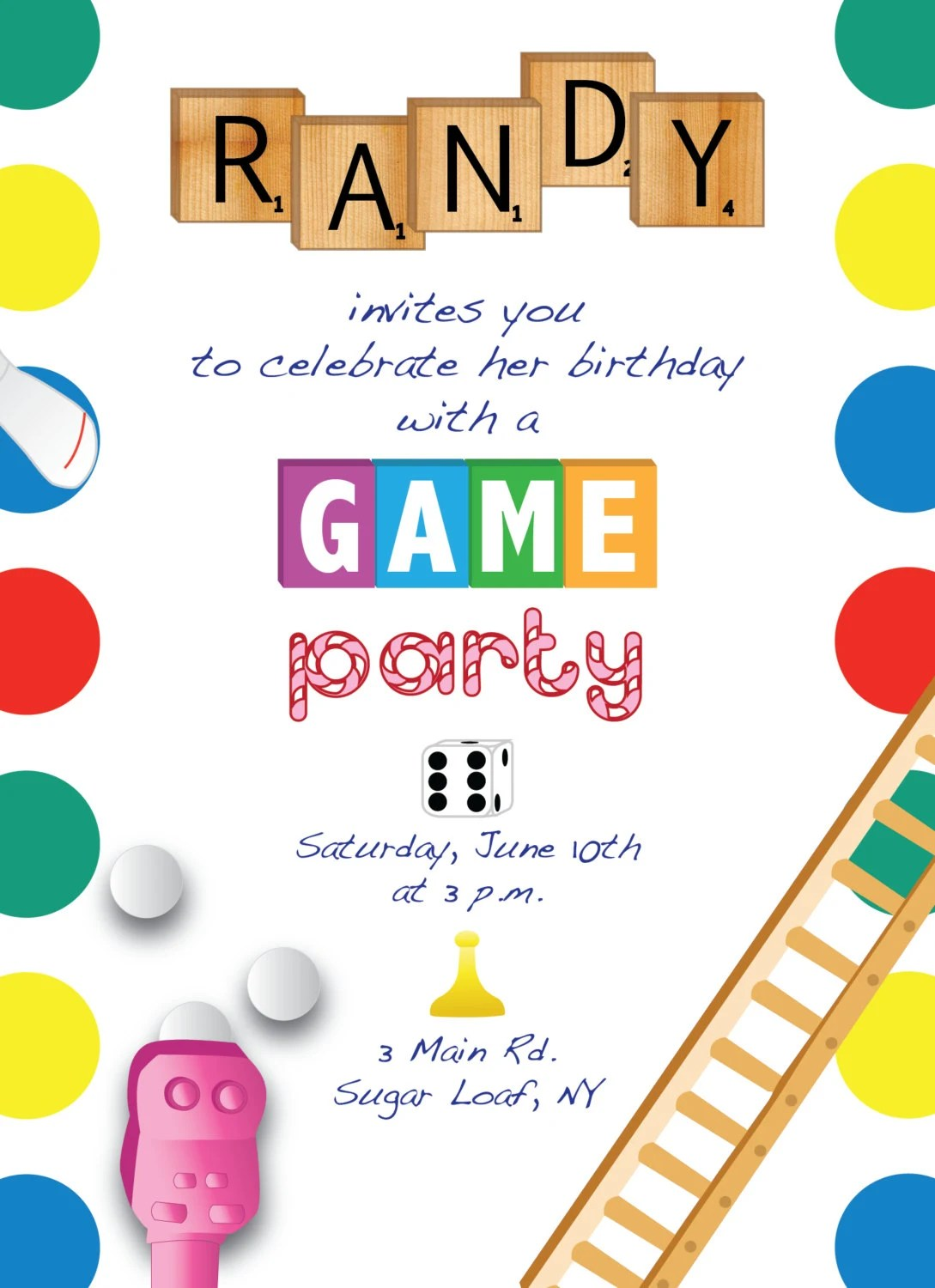 Printable Game Night Party Invitation