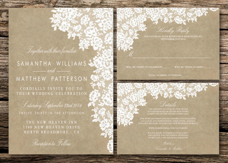 Printing Paper For Wedding Invitations: Printable Wedding Invitation Set