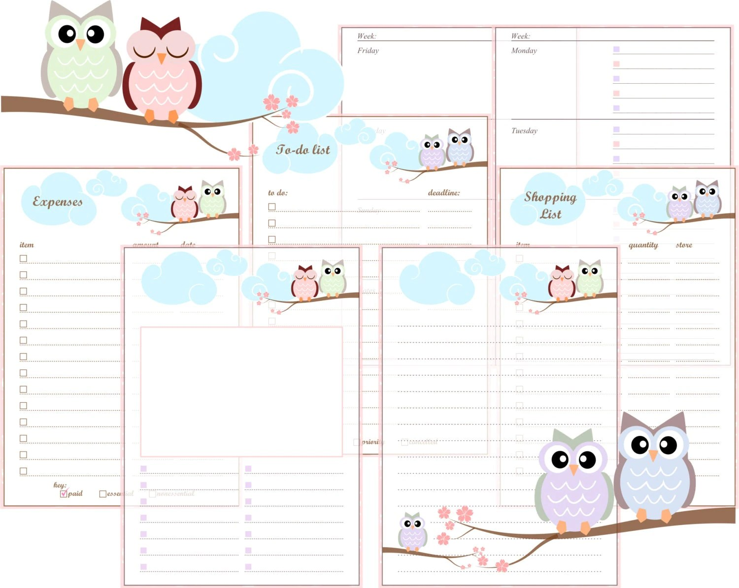 A5 Filofax Printable Inserts Pastel Owls Includes Week On