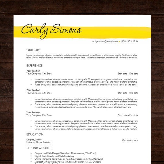 resume template design amp cover letter ms word instant download