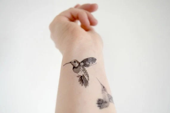 Humming Bird temporary tattoo - Set of 2 - Geometric, Floral, Bird, Tattoo, Woodland, Accessories
