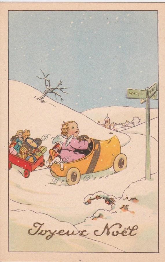 French Art Deco Christmas Postcard A Vintage Printable