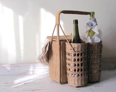 Wine Bottle Collar, Blue Beige White Bottle Wrap, Drip Catcher, Wine Drip Ring, Host Hostess Gift, Beach Cottage Chic Nautical Food Gift - aclhandweaver