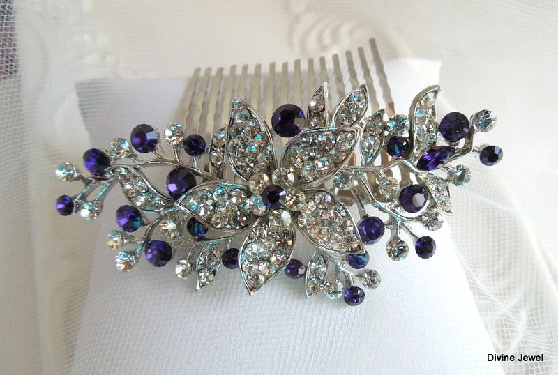 Bridal Purple Swarovski Crystal Wedding Comb Wedding Hair