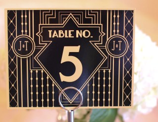 15 Piece - Table Numbers Printed Wedding Gatsby Art Deco 20's Inspired Custom Monogram Sign