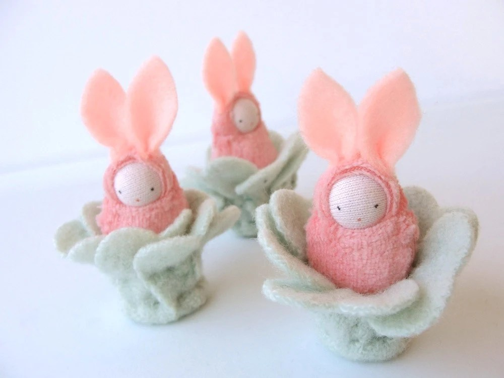 Easter bunny waldorf decor rabbit  pink bunnies - fairyshadow