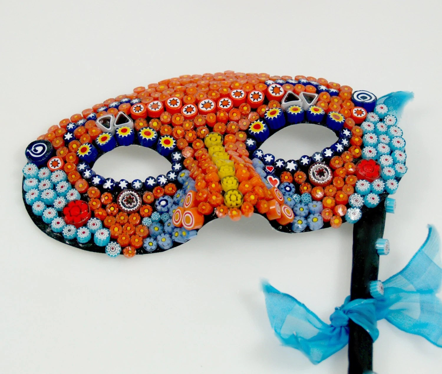 Millefiori Glass Mosaic Mask, Italian Millefiori, Murano Glass, Glass flowers mosaic, Eye Mask, Orange and Blue with Yellow - JanMaitlandGallery