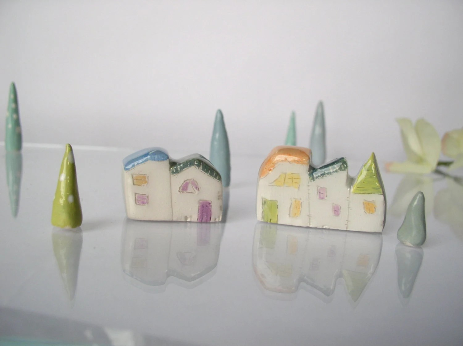 My little Village -Set of Handmade white clay houses with colored roofs, doors and windows And 3 Trees - VitezArtGlassDesign