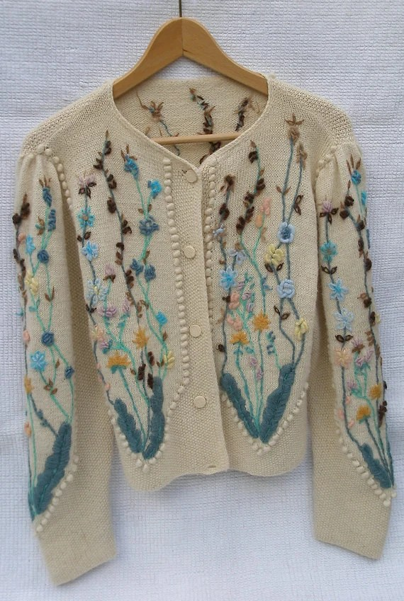 Hand Knitted And Embroidered Vintage Cardigan Handmade In