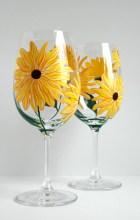 Yellow Sunflower Wine Glasses - Set of 2 Hand Painted Sunflower Glasses