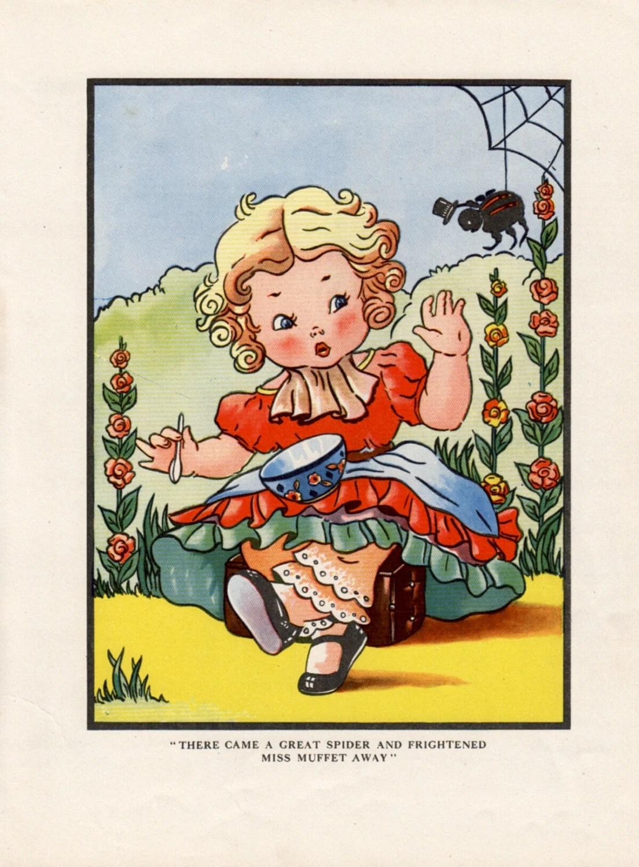 Nursery Print Of Little Miss Muffet Nursery Rhyme Baby Girl