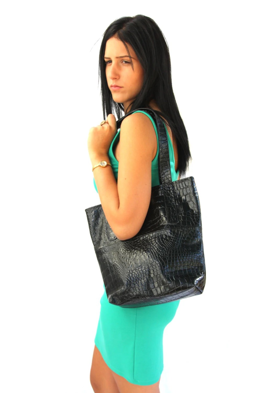 Leather tote, women crocodile bag, Black handbag - TahelSadot