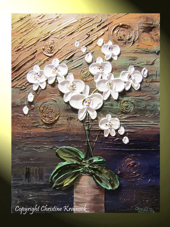 ORIGINAL Art Abstract Painting Orchids White Flowers Sculpted