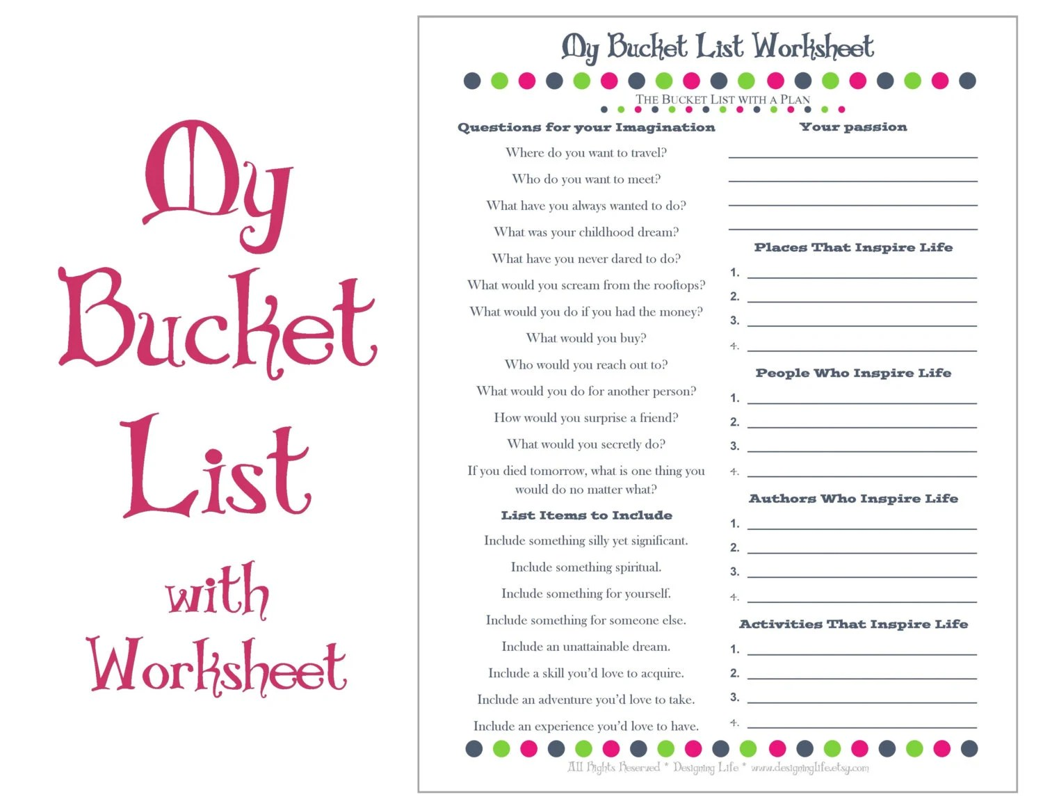 Bucket List Printable With Worksheet Make A Plan To Live