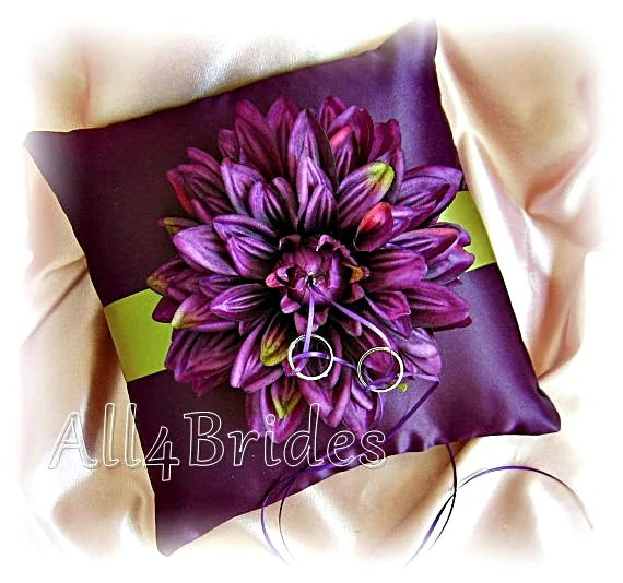 Purple Plum And Green Wedding Ring Bearer Pillow Fall