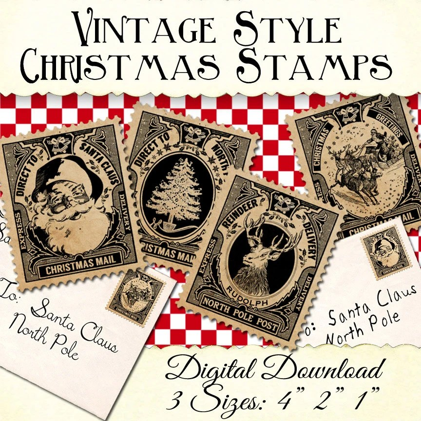 Christmas Stamps For Labels Tags Digital Download Printable