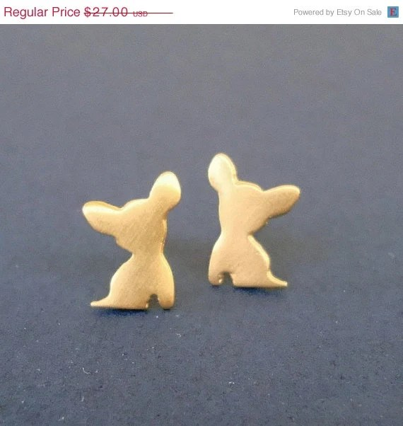 SALE 10% Tiny 24k gold plated Chihuahua earrings Silhouette Dog studs  sterling silver gift women kids girls Christmas earrings pet holiday - zoozjewelry