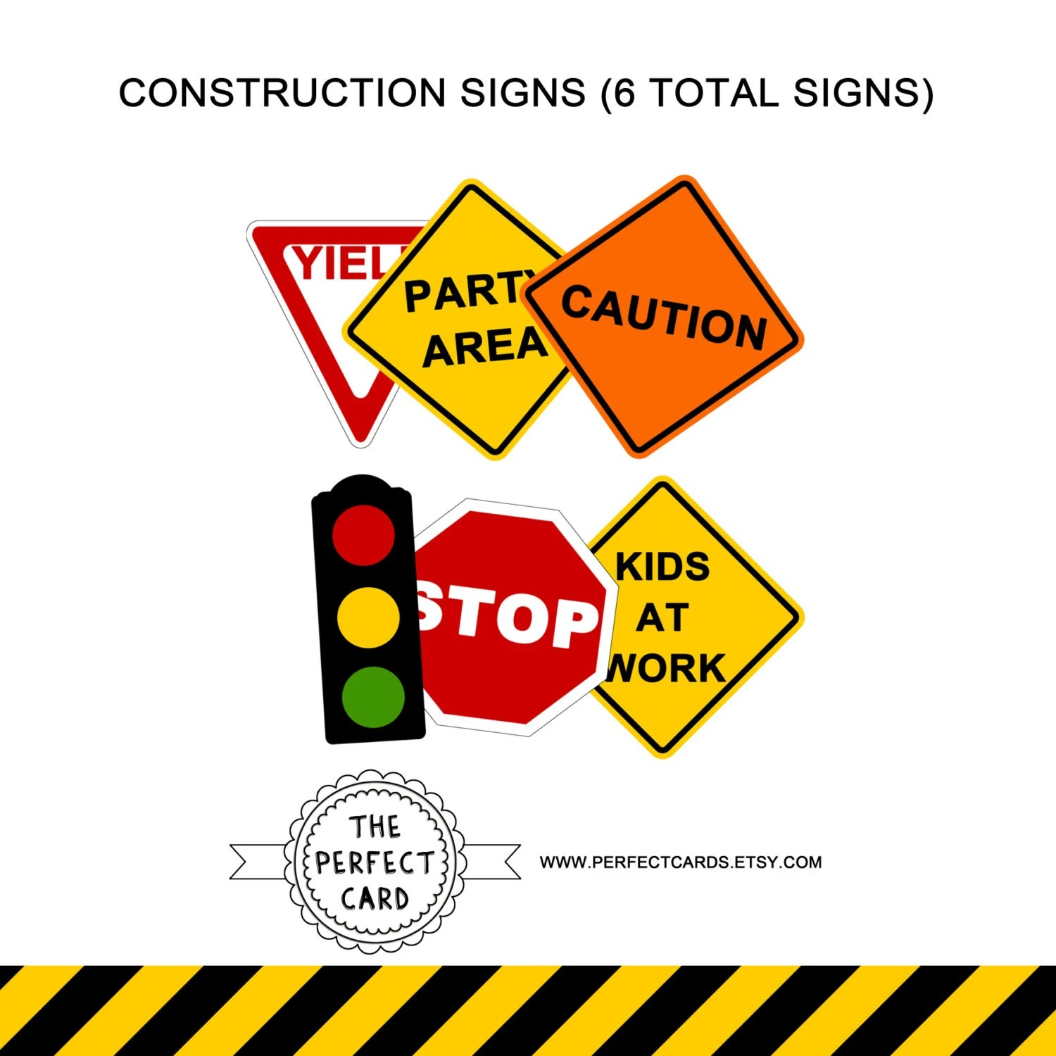Construction Printable Road Signs Instant By Perfectcards