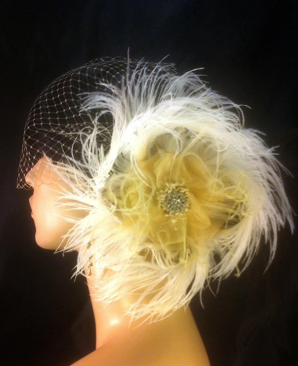 Gatsby Headpiece, Silk Champagne Organdy Rose Bridal Flower Feather Fascinator with Veil,  Bridal Flower, Flower, Bandeau Veil, SHIP READY