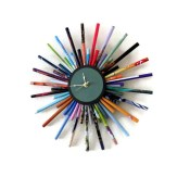 Sunburst Wall Clock,  Home and Living, Recycled Wall Clock, Home Decor, Paper Decor,  Decor and Housewares, Unique Gift