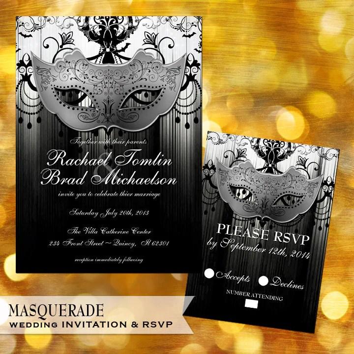 Masquerade Wedding Invitations: Masquerade Black And White Wedding Invitation And Rsvp