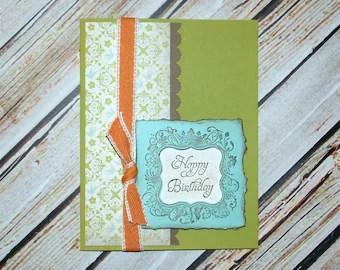 Handmade Masculine Birthday Card with Envelope - Grunge Style Birthday Card