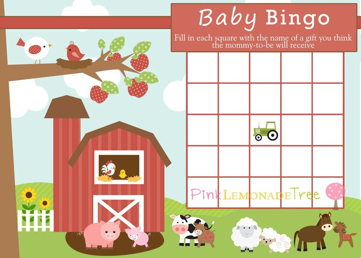 Farm Baby Bingo Farm Baby Shower Game Instant Download