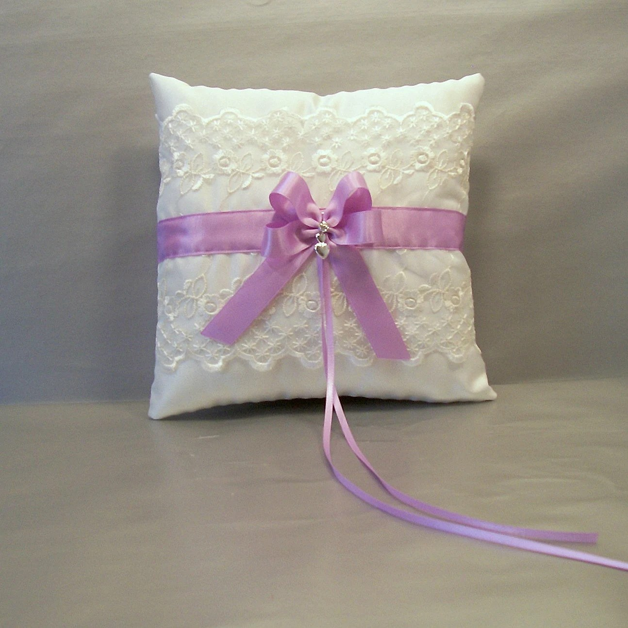 Orchid Purple Wedding Bridal Ring Bearer Pillow on Ivory or White Satin and Lace w/ Double Loop Bow & Rhinestone Bead - evertonbridal