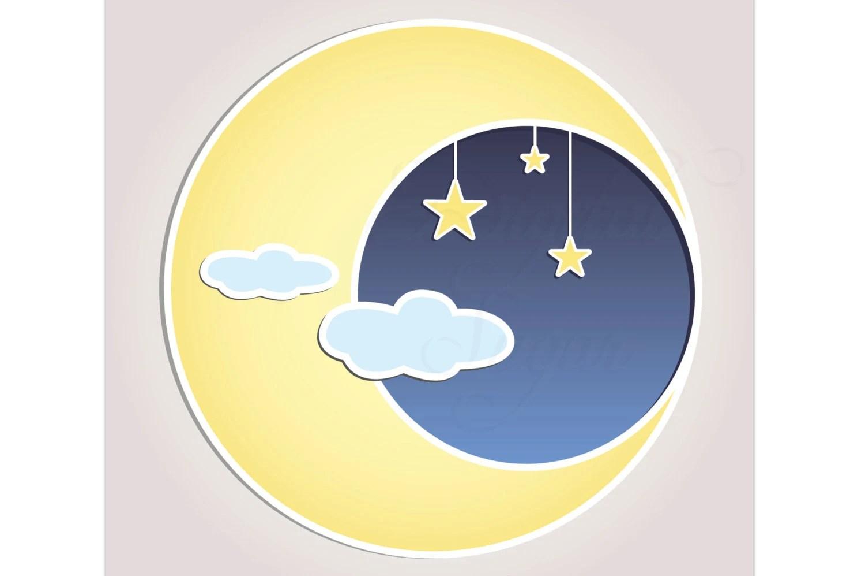 Sun Moon Stars Clip Art Vector Baby Shower Invitation