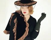40s Black Velvet Hat & Shawl Set with Brown Yarn Fringe - denisebrain