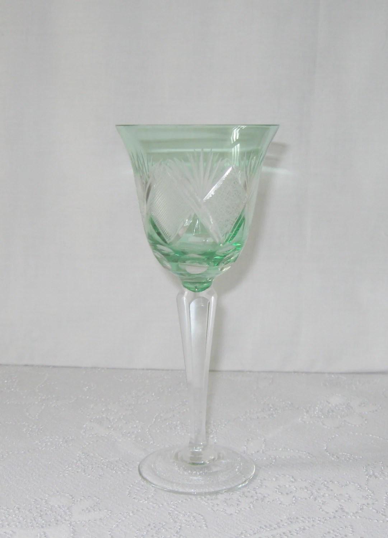 Three Cut Crystal Wine Glasses Bohemia Beginning Of