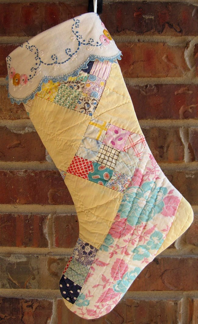 Vintage Cutter Quilt Christmas Stocking Pastel Yellow Amp Pink