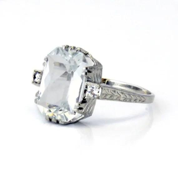 Antique Aquamarine Engagement Ring 20k Art Deco Filigree 1920s