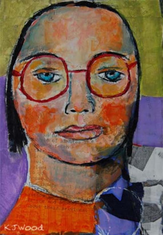 Acrylic Portrait Painting -  Heart on Her Sleeve, 5x7, Girl, Red Glasses, Purple, Orange, Green, Collaged Background
