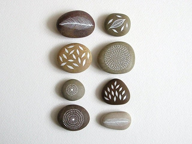 Air and Earth - Collection of 8 Painted Stones with Nature Inspired Designs - by Natasha Newton - theblackbirdsings